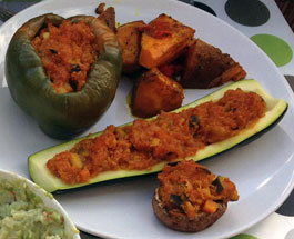 Gemüse mit Curry-Quinoa-Füllung