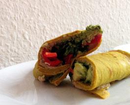 Wraps mit Ruccola, Petersilienpesto und Bohnencreme